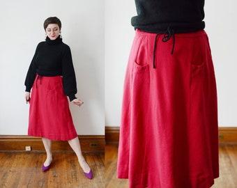 1950s Magenta Wool Skirt - L
