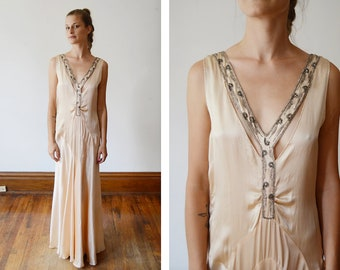 1930s Pale Peachy Pink Deco Evening Dress - S/M