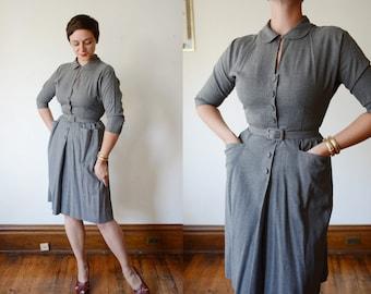 1950s Grey Button Up Dress - S