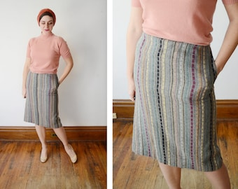1970s Textured Grey Pencil Skirt - S