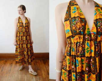 1970s Barkcloth Halter Dress - XS/S