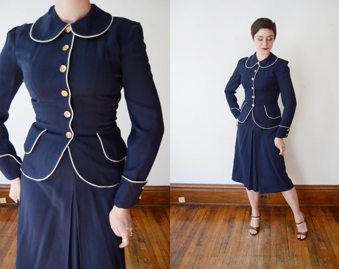 Early 1950s Navy Skirt Suit - S
