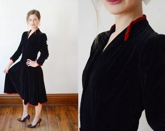 1940s New York Creation Velveteen Dress - S