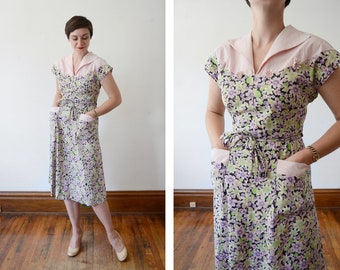 1950s Floral Cotton Wrap Dress - M/L