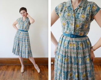 1950s Blue Daisy Print Dress - S