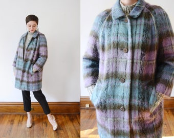 1980s Mohair Blue and Purple Jacket - M