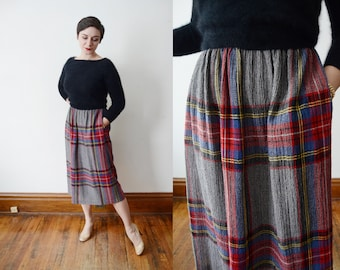 9a340c9c8 1980s plaid skirt | Etsy