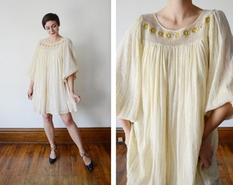 1970s Cream Gauze Tent Dress - S/M