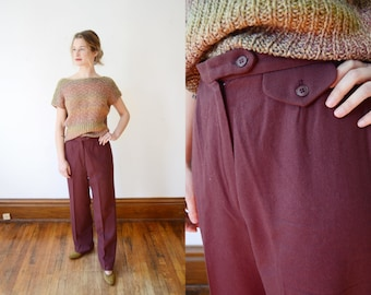 1970s Purple Wool Slacks - S