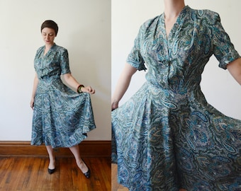 1950s Blue Paisley Dress - S/M