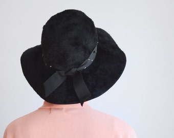 1960s Black Floppy Faux Fur Hat