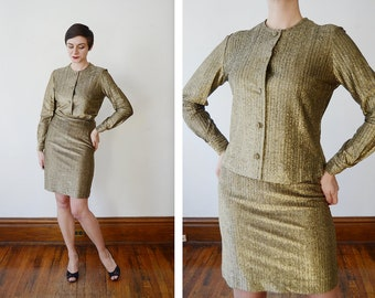 1960s Gold Metallic Blouse and Skirt Set - S