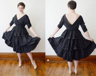 1950s Black Dress / Ruffled Party Dress - M