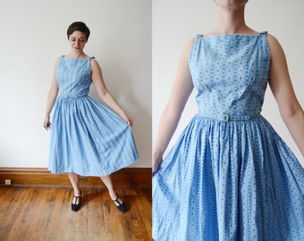 1950s Blue Cotton Lanz Dress - S/M