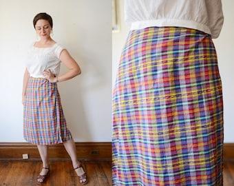 1970s Rainbow Plaid Wrap Skirt - S/M