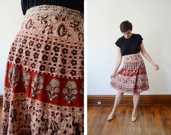 1970s Block Print Wrap Skirt - S/M