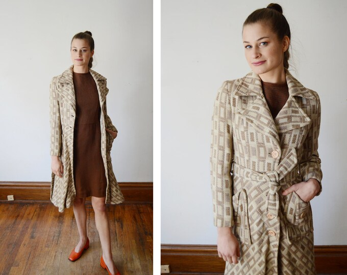 Featured listing image: RESERVED 1970s Beige Patterned Coat - XS/XXS
