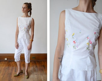 1950s White Embroidered Floral Pant and Top Set - XS Two Pieces