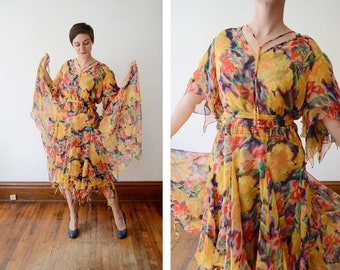 Yellow 1980s Floral Chiffon Dress - M/L