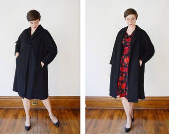 1950s Black Wool Coat - M
