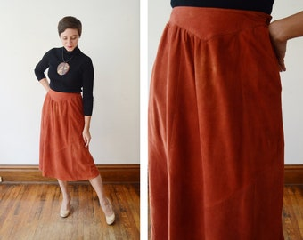 1970s Rust Suede Skirt - S/M