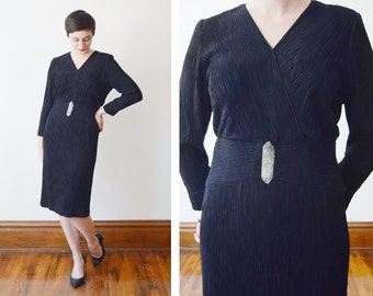 Textured Black 1980s Cocktail Dress with Beaded Accent - M