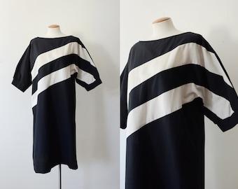 Black and White 80s Stripe Dress - M/L
