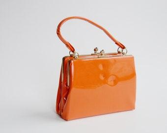 1960s Patent Orange Purse