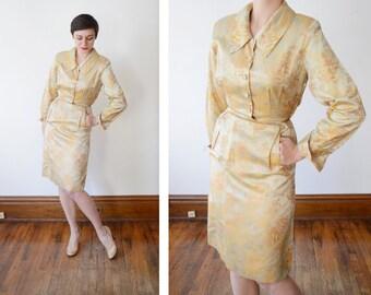 1950s Gold Brocade Shirtwaist Dress - S