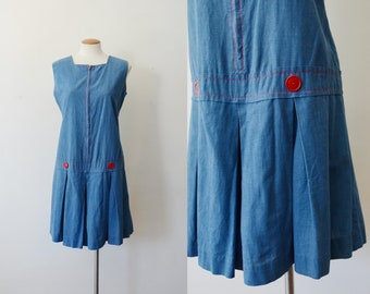 1960s Blue and Red Cotton Romper - M