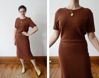 1940s/1950s Handmade Brown Knit Dress - Tall L