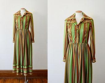 1970s Striped Maxi Dress - S/M