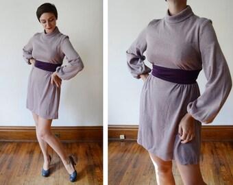 1960s Purple Long Sleeve Mini Dress - S/M