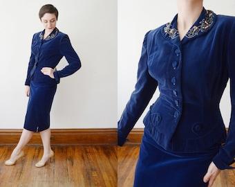 1940s Blue Velvet Beaded Suit - S