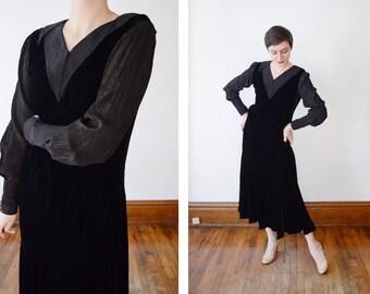 1930s Black Velvet and Gold Pinstripe Dress - M