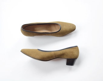Olive Suede 1960s Low Heels 6.5 Narrow