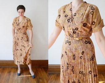 1940s Daisy Print Dress - S/M