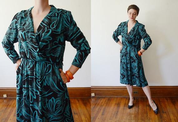 1980s Black and Turquoise Shirtwaist Dress - M