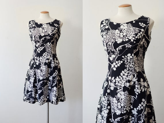 1960s Black and White Floral Aline Dress - M
