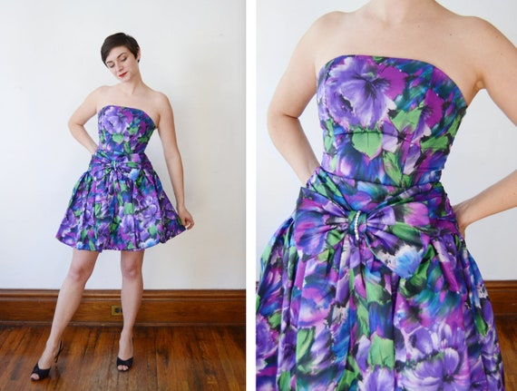 1980s Floral Bubble Hem Party Dress - XS/S