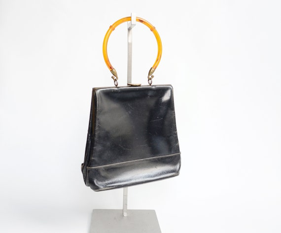 1950s Black Handbag with Plastic Handle