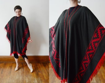 1970s Black and Red Poncho - S/M/L
