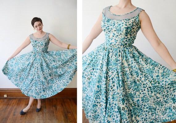 1950s Blue Silk Floral Dress with Mesh Neckline - M