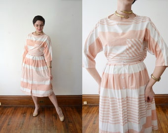 1980s Pink and White Top and Skirt Set - M