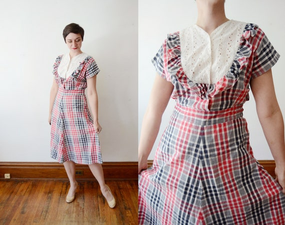 1940s Red and Black Plaid Dress - M