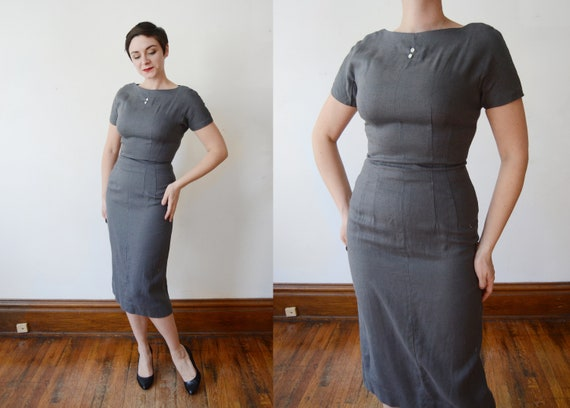 1950s Fitted Grey Dress - S