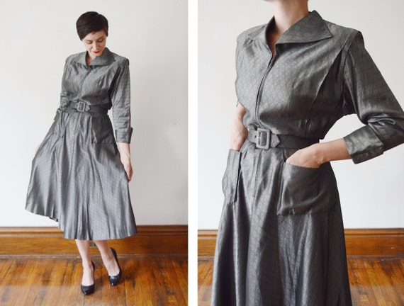 1940s Dark Silver Zip Up Dress - S/M