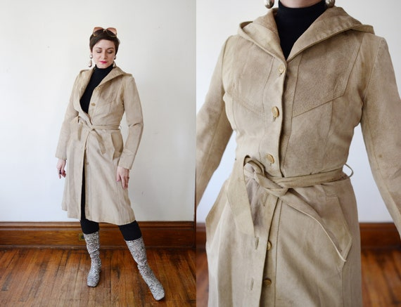 1970s Tan Leather Hooded Trench Coat - XS/S