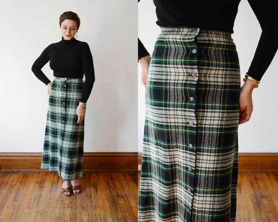 70s Button Up Plaid Maxi Skirt - S
