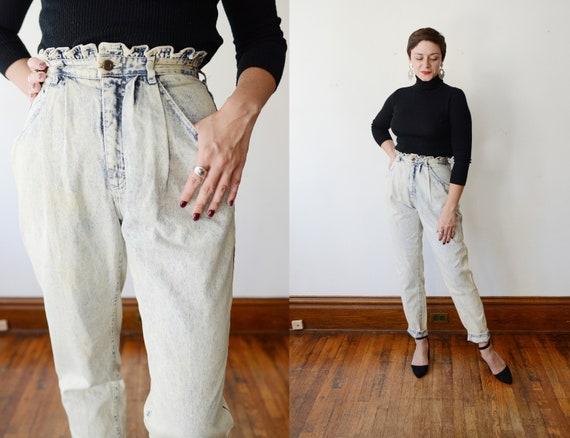Lee 1980s Paper Bag Waist Acid Wash Jeans - M